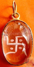Picture of Swastika Crystal hand carved pendant Silver