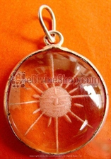 Picture of Surya Sun Hand Carved Crystal Pendant Silver