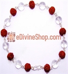 Picture of Rudraksha and Quartz Crystal Combination Silver Bracelet