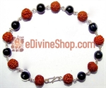 Picture of Rudraksha and Cat's Eye Combination Bracelet in Silver