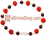 Picture of Rudraksha and Garnet Combination Bracelet in Silver