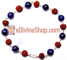 Picture of Rudraksha and Lapis Lazuli Combination Bracelet in Silver