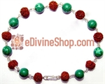 Picture of Rudraksha and Malachite Combination Bracelet in Silver