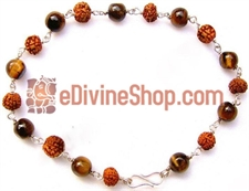 Picture of Rudraksha Tiger Eye Combination Bracelet in Silver