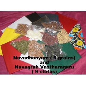 Picture of 9 cloths & grains for Navagraha Homam & Pooja Hinduism