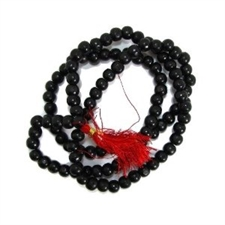 Picture of Black Tulsi Mala Rosary from India, 28 Inches, 5mm Beads