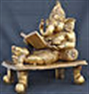 Picture of God Ganesh with book Decorative Hindu Religious Statue Gift craft Sculpture