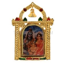 Picture of Photo Frame with Bell - Shiva Parvati Ganesh (Small)