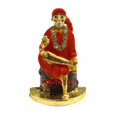 Picture of Hindu God Idols of Saibaba Small Gold Plated Amrian Diomand 12X20X3 cm