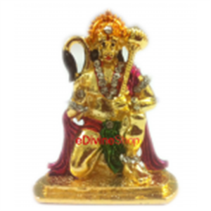 Picture of Gold Plated Hindu God Idol of Bajrang Bali Amarican Diomand 5cm X 4cm