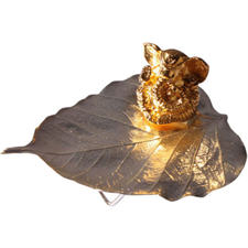 Picture of SILVER PLATED PEEPAL LEAF WITH GOLD GANESHA