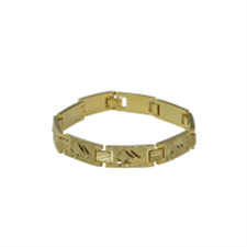 Picture of ALPHAMAN Men Golden Bracelet with shiny texture on each Rectangular coil with a clasp