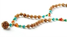 Picture of Garuda Mala: 108 Rudraksha Beads with 22K Gold Plated Silver & Turquoise