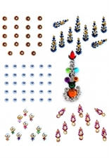 Picture of Desginer zircons and pearls studded multicolor pack of bindis - 6 Pcs