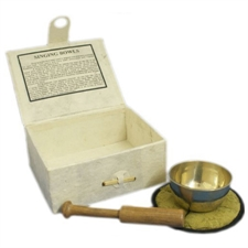 Picture of Singing Bowl and Beater with Matt and user guide 9cm wide Medium Bowl