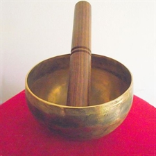 Picture of Tibetan Buddhist Hand Beaten Singing Bowl; 4.5in Diameter; Playing Stick Included.