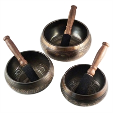 Picture of Serenity Tibet Tibetan Bowls - Mantra Set Of 3 Singing Handmade In Nepal