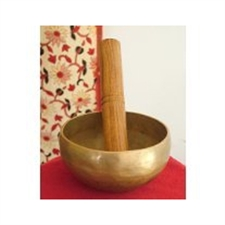 Picture of Tibetan Buddhist Singing Bowl; Hand Beaten in Nepal - 4.8in diameter, 406grams weight; playing stick included - sold by Spiritual Gifts. Usually dispatched within 2 working days.