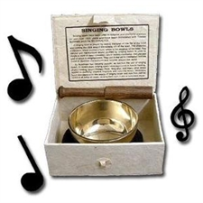 Picture of TIBETAN 8.5cm POLISHED BRASS SINGING BOWL SET. EXPERIENCE THE LIBERATING POWER OF ITS SOUNDS!