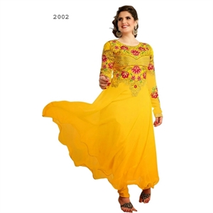Picture of Bollywood Actress Zarine Khan Yellow Anarkali Salwar Suits Zar2002