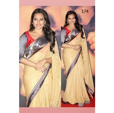 Picture of Sonakshi Sinha in Peach Saree at Lootera BWR174