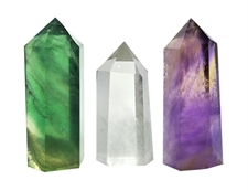 Picture of Set of 3 Healing Crystal Wands of 3 Stones: Clear Quartz, Fluorite, Amethyst Pointed & Faceted Prism Bars for Reiki Chakra Meditation Therapy Decor